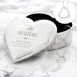 Personalised Heart Trinket Box And Necklace Set