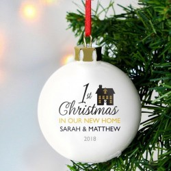 Personalised 1st Christmas In Our New Home Ceramic Bauble