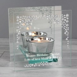 Personalised Diamante Mirrored Glass Tea Light Holder
