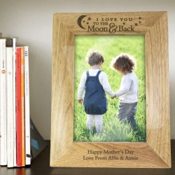 Personalised 5x7 To the Moon and Back Wooden Picture Frame