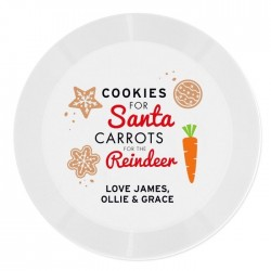 Personalised Santa And Rudolph Christmas Eve Plate