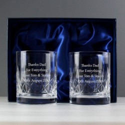 Personalised Cut Crystal Whiskey Tumblers Gift Set