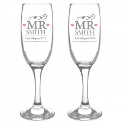 Personalised Mr&Mr Pair Of Champagne Flutes