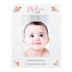 Personalised 6x4 Mother's Day Floral Bouquet White Picture Frame