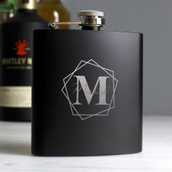 Personalised Geometrical Initial Black Hip Flask
