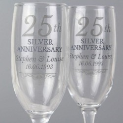 Personalised 25th Silver Anniversary Pair Of Champagne Flutes In A Gift Box