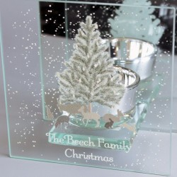 Personalised Christmas Tree Mirrored Glass Tea Light Holder