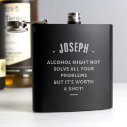 Personalised Black Hip Flask
