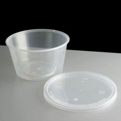 Clear Round Plastic Sauce Cups With Lids Re-usable Containers Pots Takeaway Deli
