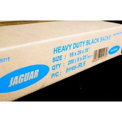 "Jaguar Black Refuse Sacks - 18x29x39"" - 120g - Box of 200"