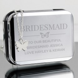 Personalised Butterfly Trinket Box With Necklace
