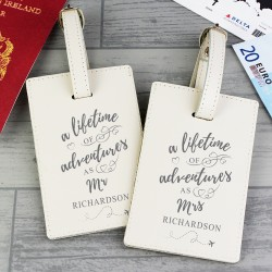 Personalised 'Lifetime of Adventures' Pair Of Luggage Tags