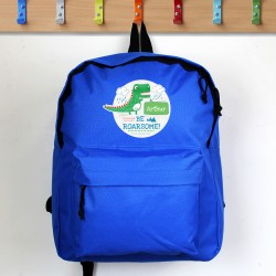 Personalised 'Be Roarsome' Blue Dinosaur Backpack
