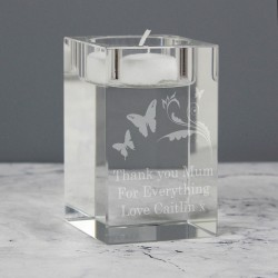 Personalised Butterflies Glass Tea Light Candle Holder