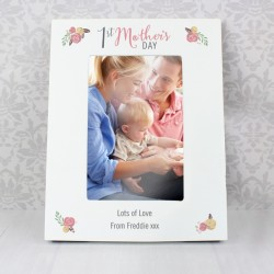 Personalised 6x4 1st Mother's Day Floral Bouquet White Picture Frame