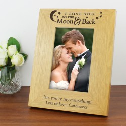 Personalised 4x6 To the Moon and Back Wooden Picture Frame