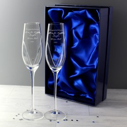 Personalised Hand Cut Heart Pair of Flutes with Swarovski Elements In A Gift Box
