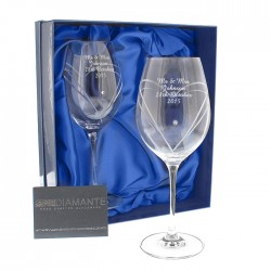 Personalised Hand Cut Wine Glasses Set Made With Swarovski Elements