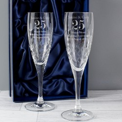 Personalised Anniversary Pair of Crystal Flutes In A Gift Box