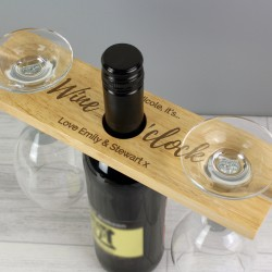 Personalised 'Wine O'clock' Wine Glasses & Bottle Butler