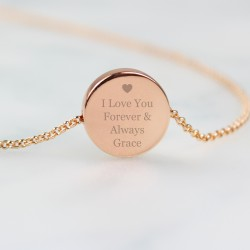 Personalised Heart Rose Gold Tone Disc Necklace