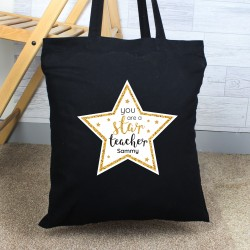 Personalised 'You Are A Star Teacher' Black Cotton Bag