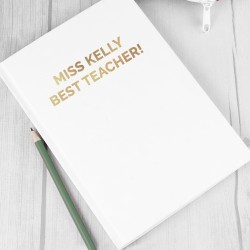 Personalised A5 Hardback Notebook With A Gold Message