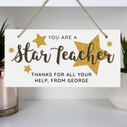 Personalised 'You Are A Star' Teacher Wooden Sign